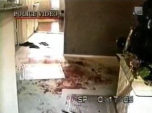 The towels in the hallway are visible on the police crime scene video